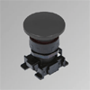 W0351000017 Black mushroom-head push button Ø40
