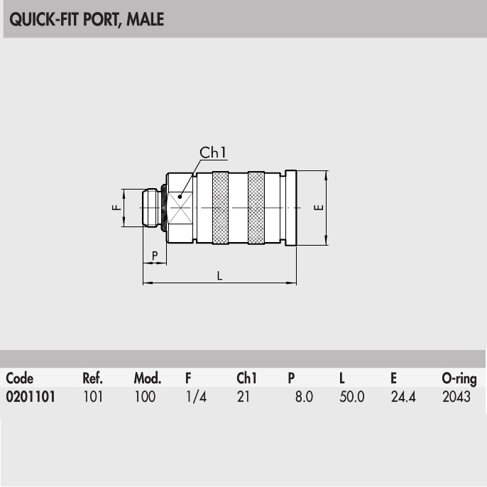 0201101 quick fit port male external thread 14