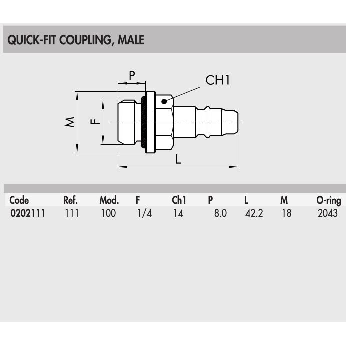 0202111 quick fit coupling male external thread 14