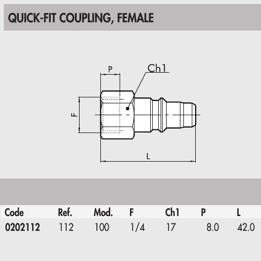 0202112 quick fit coupling male internal thread 14