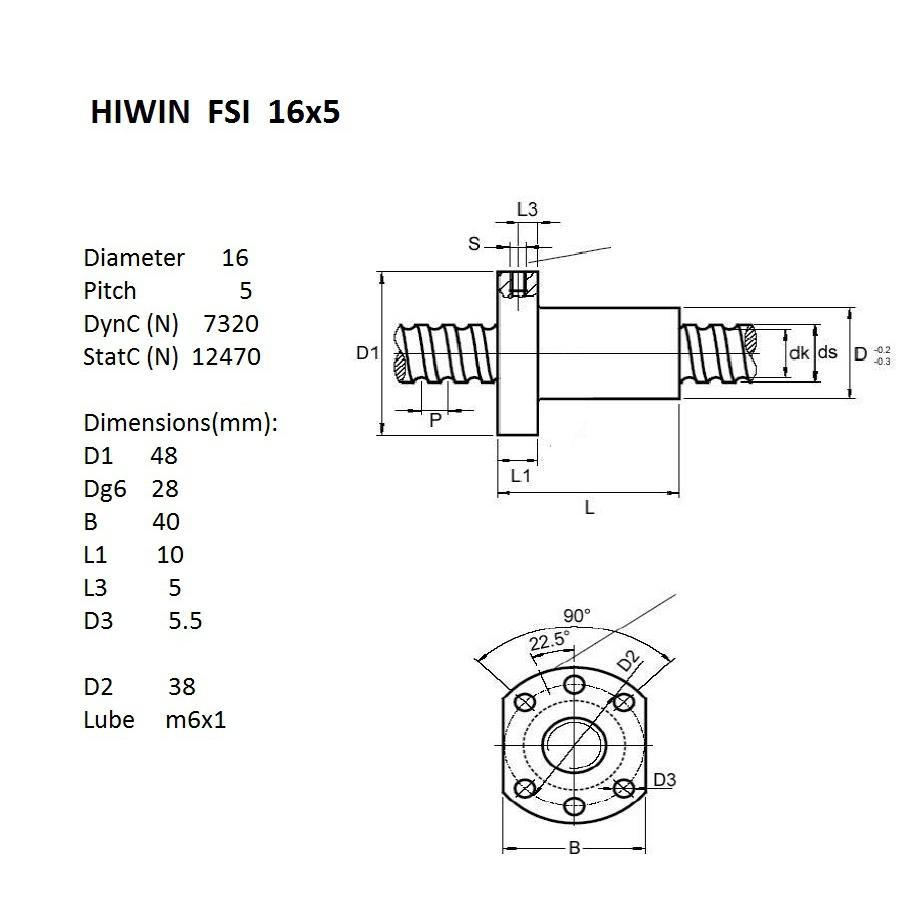 12302 hiwin fsiballnut 16mm diameter 5mm pitch