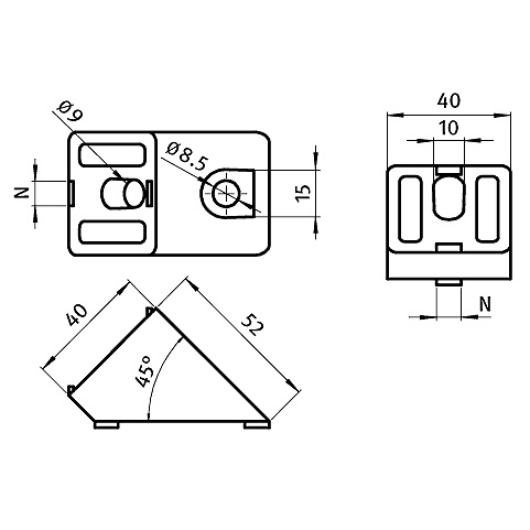 afbeelding 12713 angle connector 45 degree 40x40 nut 8