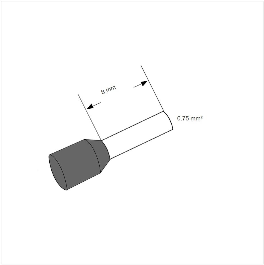 12991 ferrule adereindhuls grey 075mm l8mm