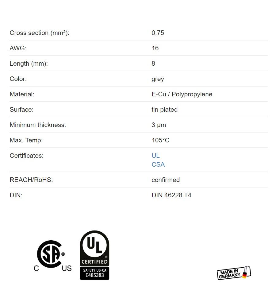 12992 ferrule adereindhuls grey 075mm l8mm