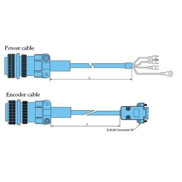 12m delta acservo 1000w1500w cable set power encoder