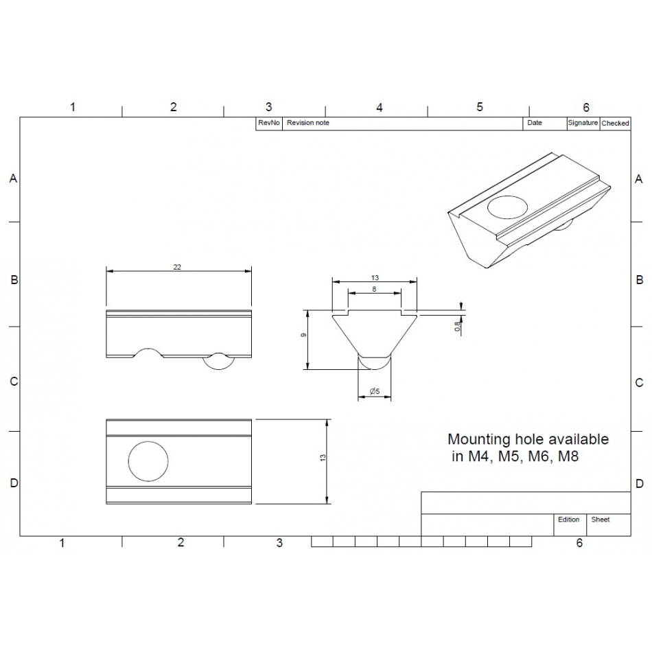 afbeelding 1302 maytec tnut for eslot profile group 40 m4