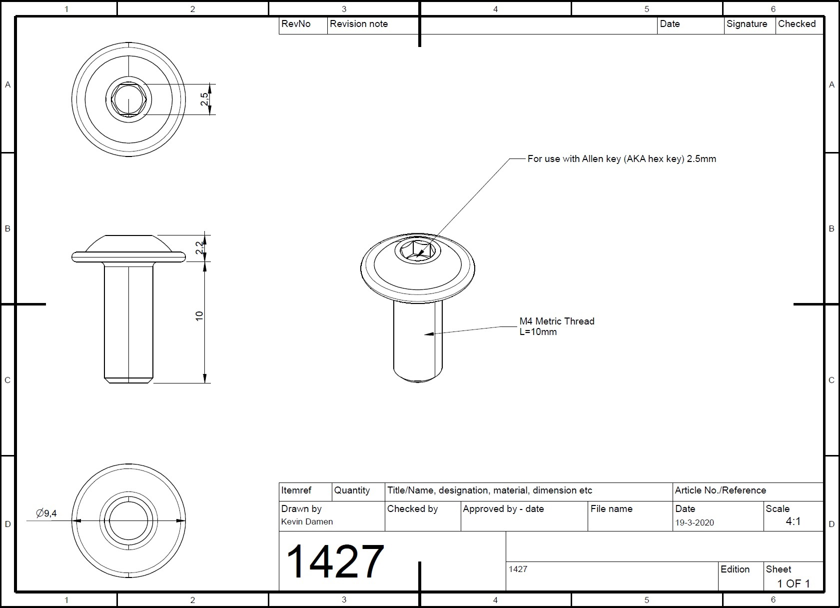 14272 m4x10 bolt iso 73802 with flange 2d dimensions