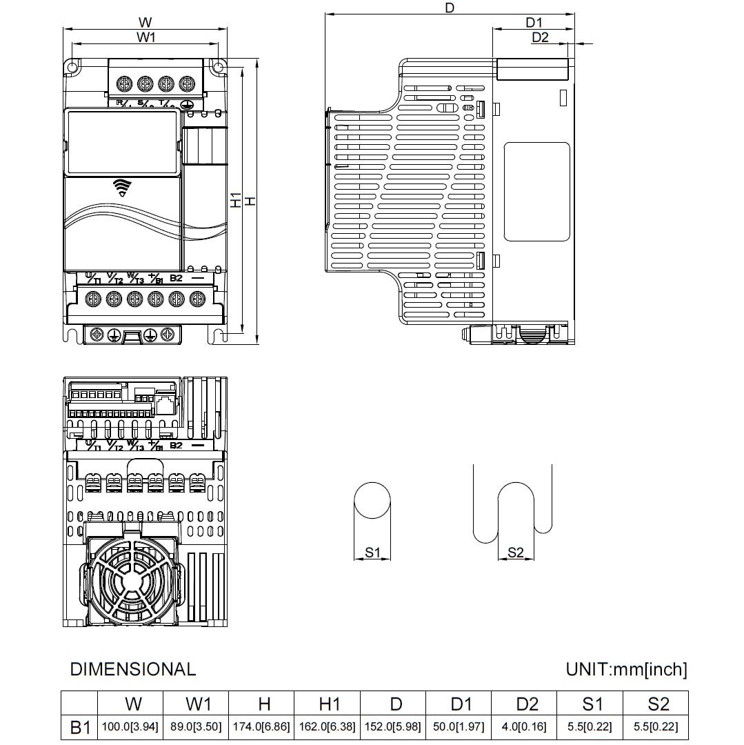 14292 vfd015e21a 1x220v3x220v 15kw keypad dimensions