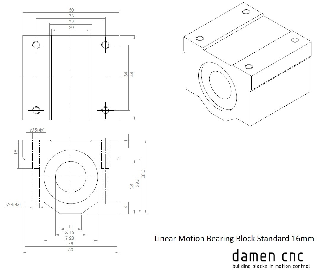 1439 linear motion bearing block standard 16mm