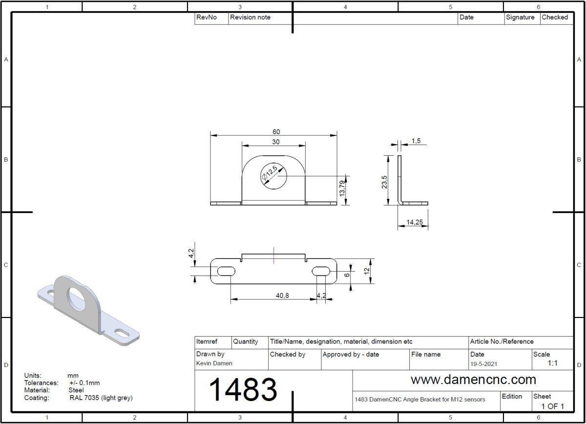 14832 damencnc angle bracket for m12 sensors 2d dimensions