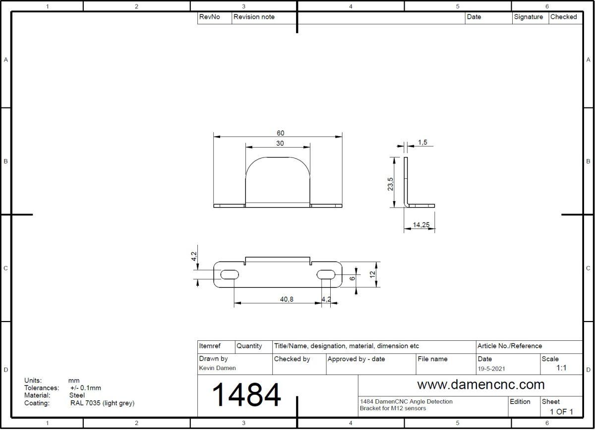 14842 damencnc angle detection bracket for m12 sensors 2d dimensions