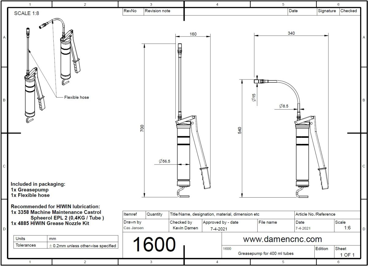 16002 greasepump for 400 ml tubes 2d dimensions