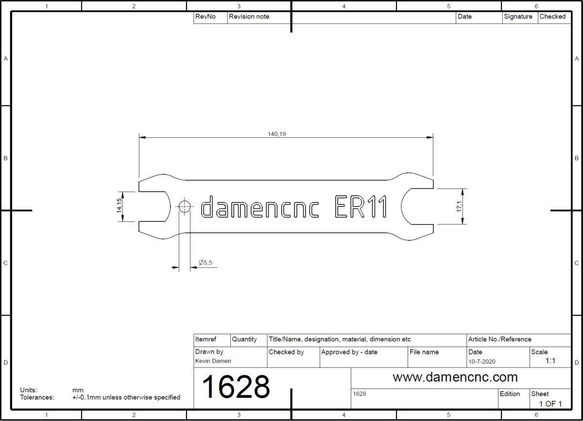 16282 wrench for er nuts er 11 wrench 14mm 2d dimensions