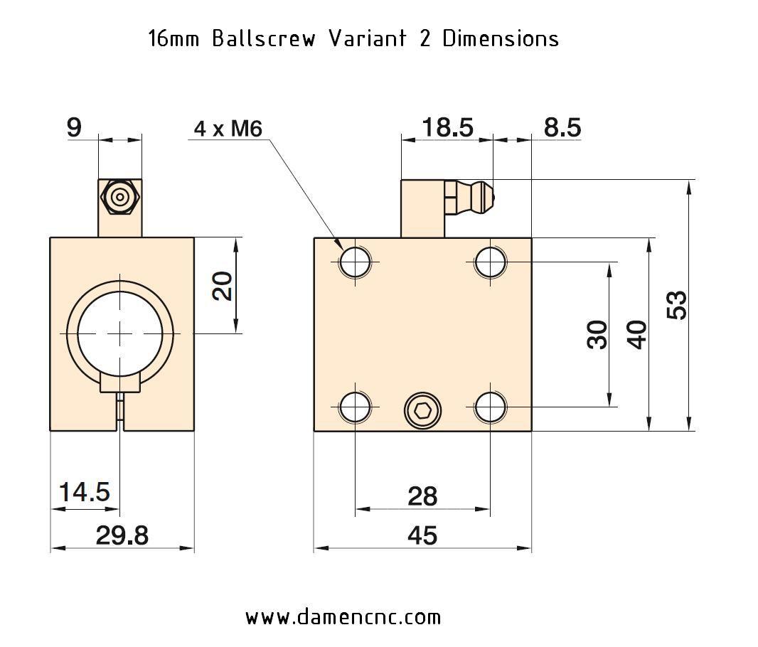 16mm ballnut variant 2 pitch 25mm 2130031003