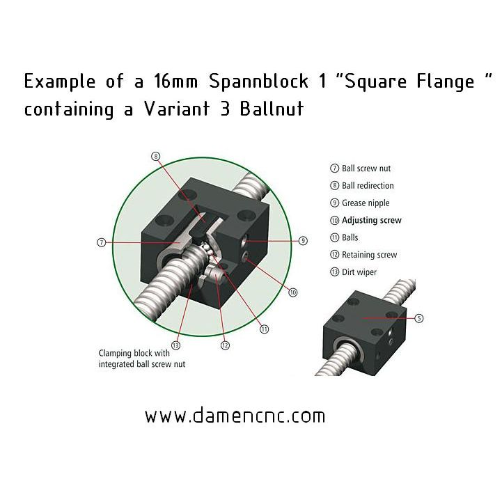 16mm spannblock 1 square flange housing 213500