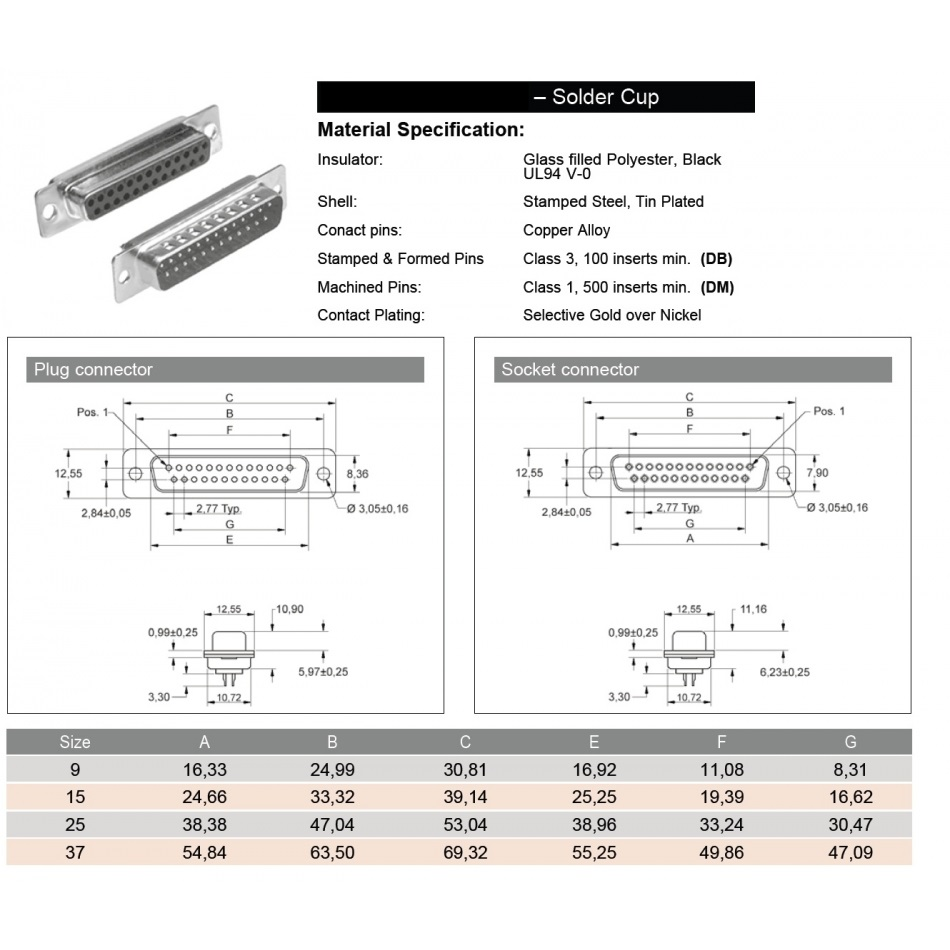 18322 subd solder cups 9 pole female tech specs