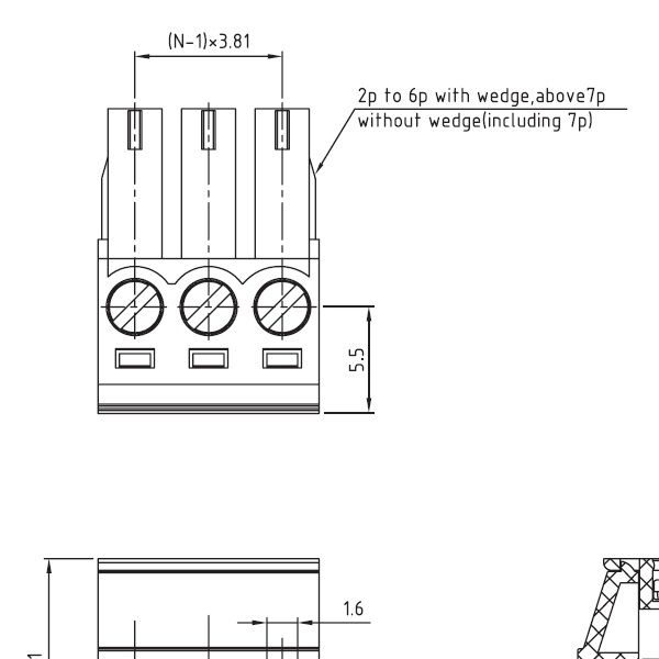 2 pole pluggable screw terminal pitch 381mm