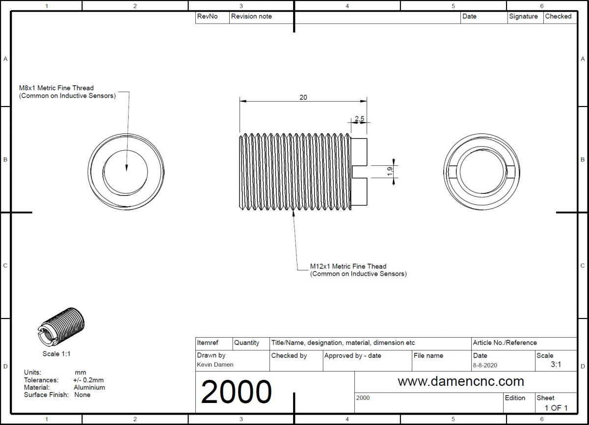 20002 thread adapter m12x1 to m8x1 l20mm 2d dimensions