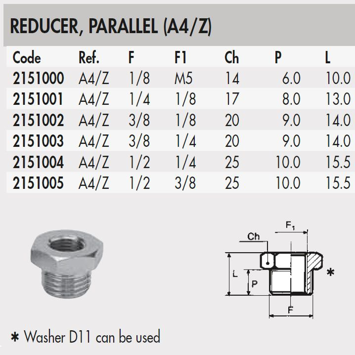2104003 38 to 14 thread adapter conical a4