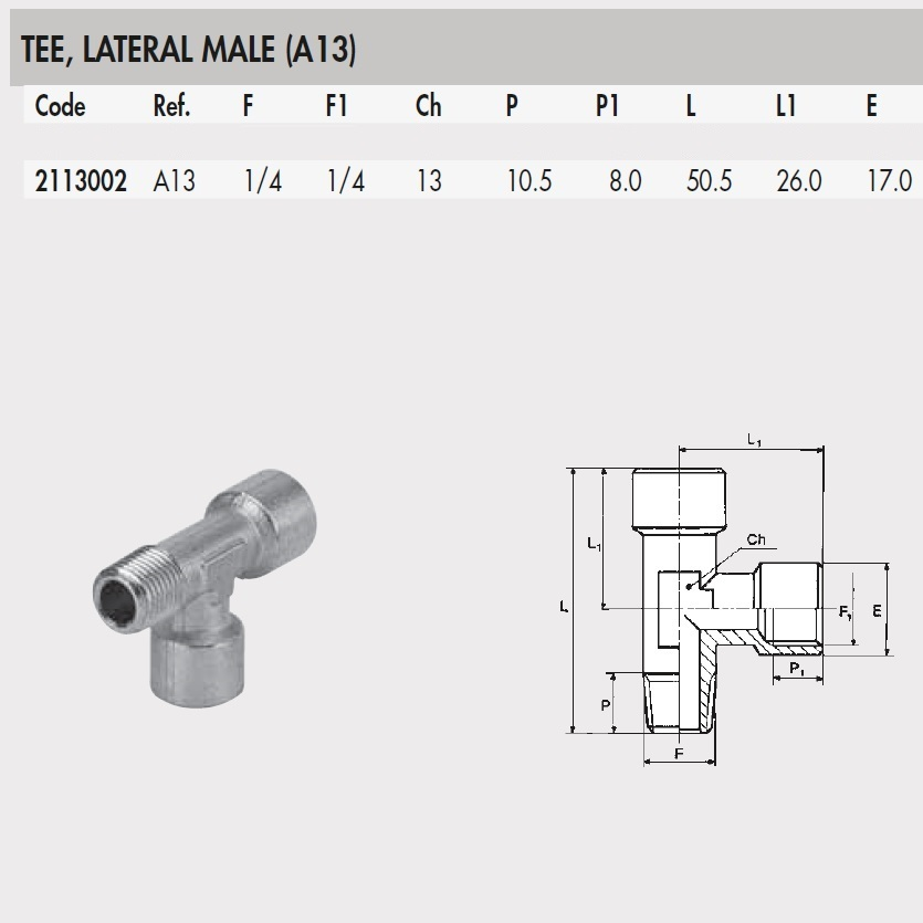2113002 mw tee lateral male a13 14