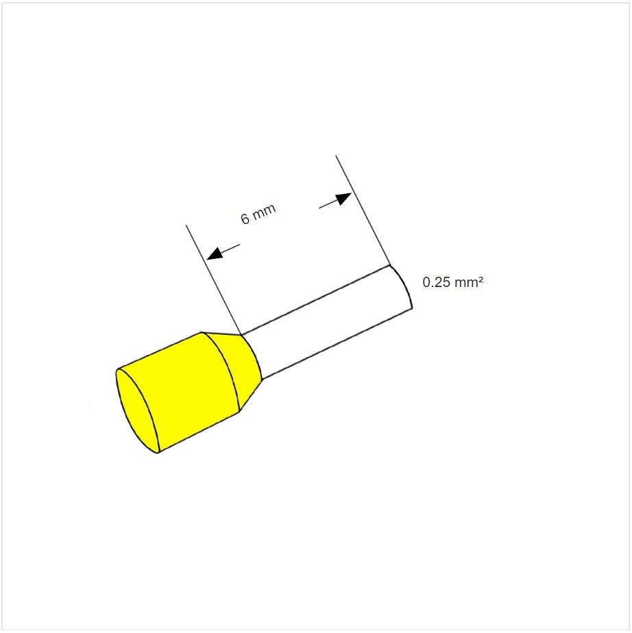 22081 ferrule aderhuls yellow 025mm l6mm