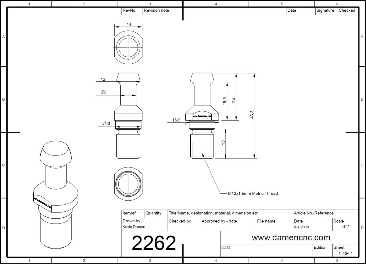 22622 spare pullstud for teknomotor atc71 iso30 2d dimensions