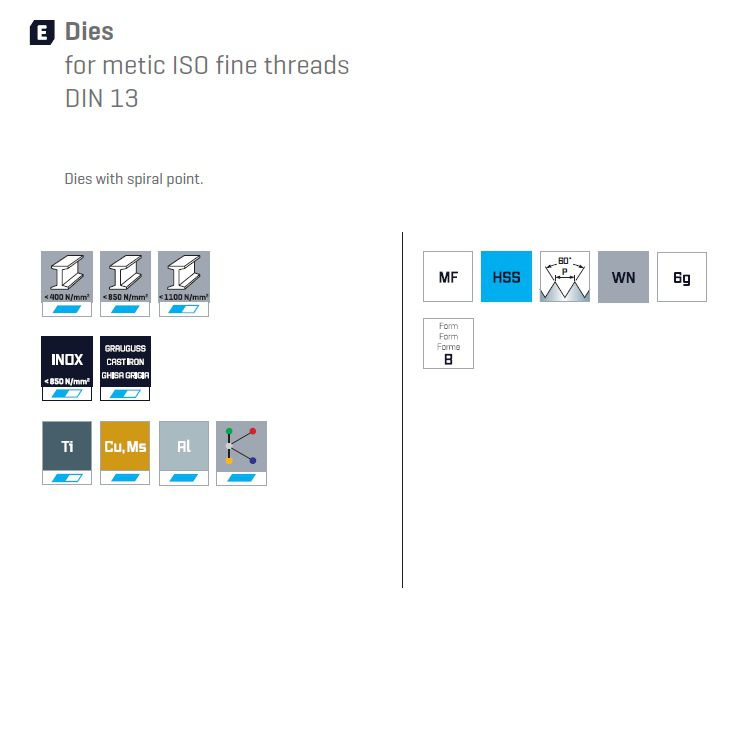 22672 dies for metric thread m10x150 5553010001 suitable materials