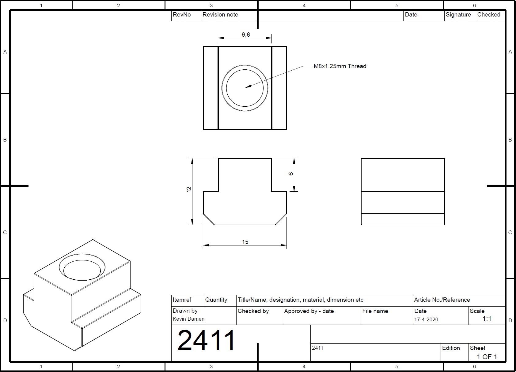 24112 m8 tnut l15mm din508 for tslot10mm wide 2d dimensions