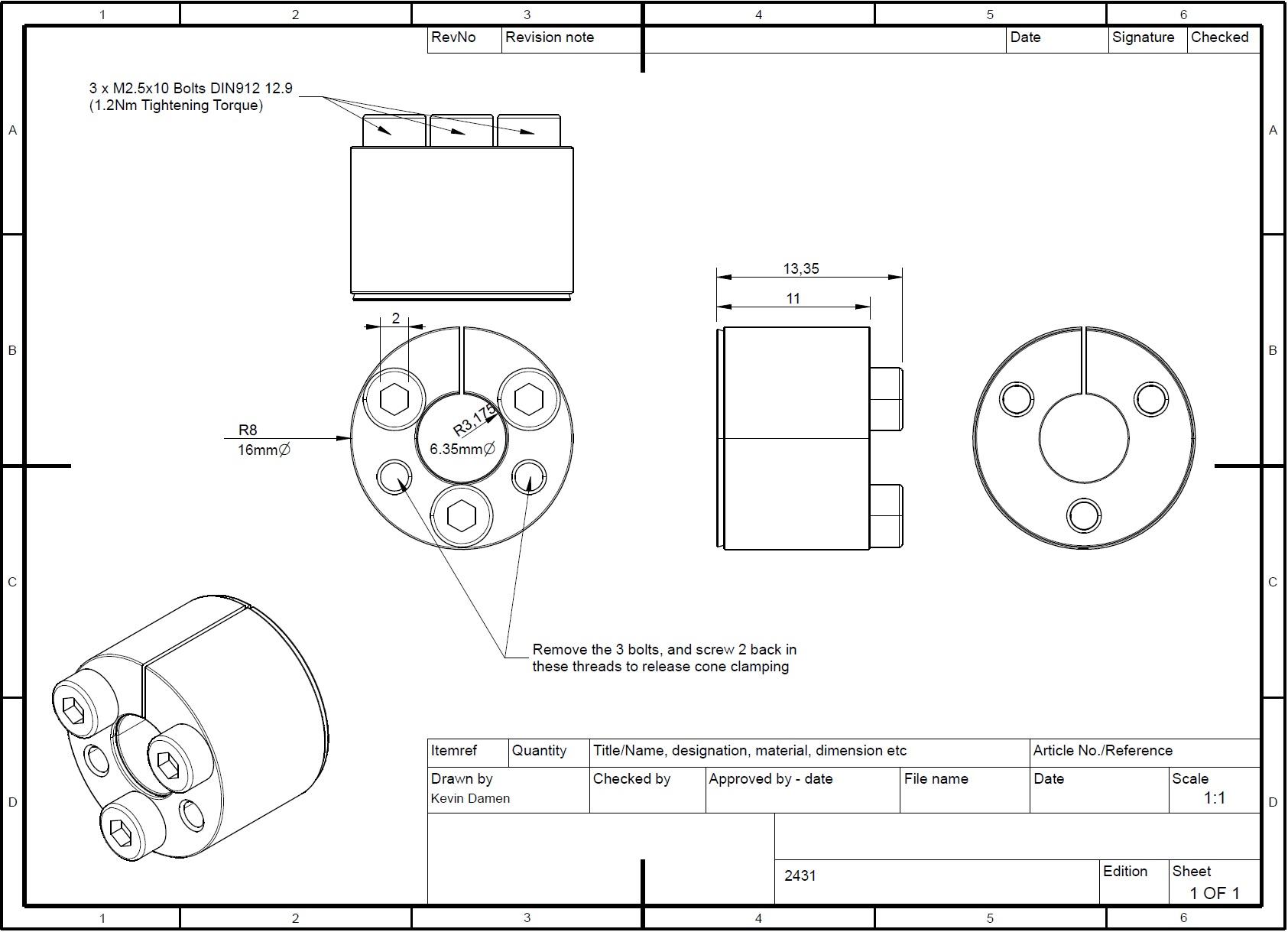 24312 bk61 locking assemblies bk61 d x d x 635x16 detail dimensions
