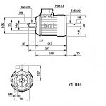 AC Motor TN71C 4 Pole 0,55kW 1500RPM B14 Flange