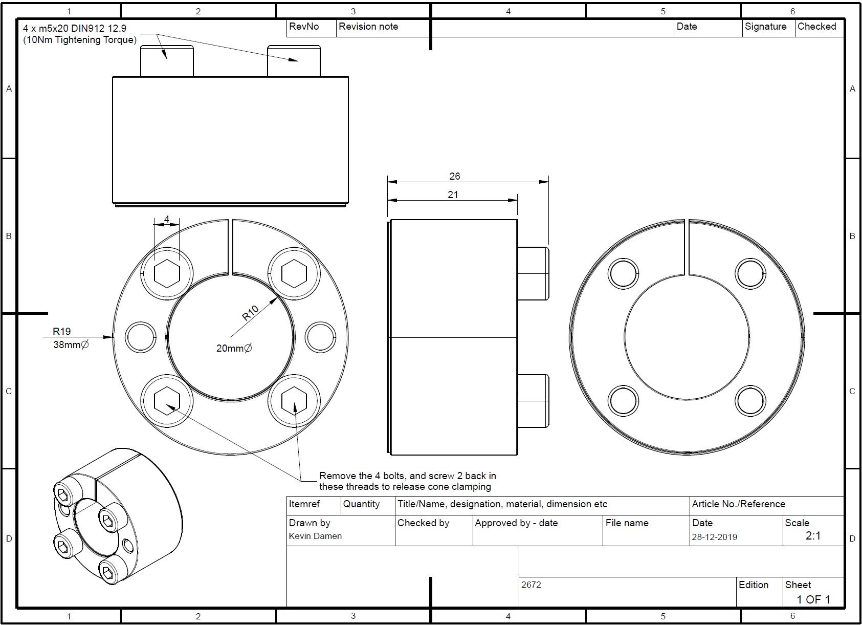 26722 locking assembly bk61 d x d x 20x38 lt26 2d dimensions