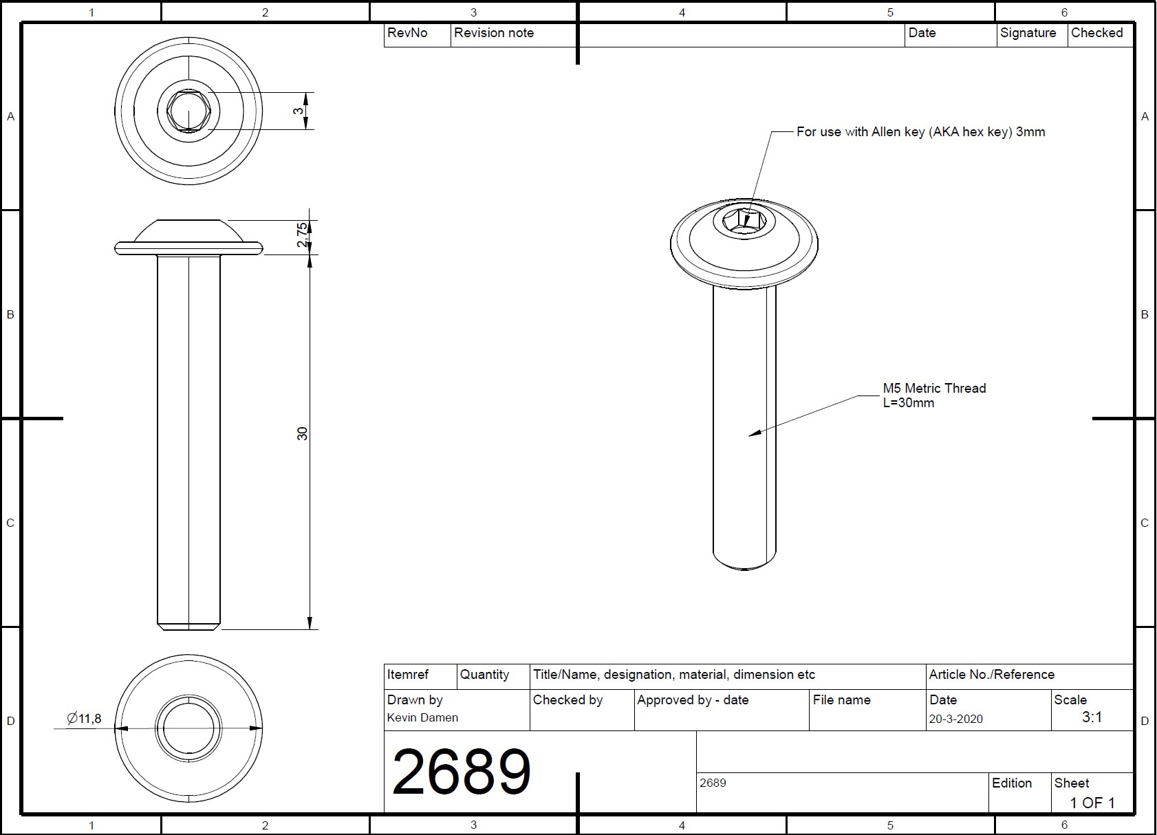 26892 m5x30 bolt iso 73802 with flange 2d dimensions