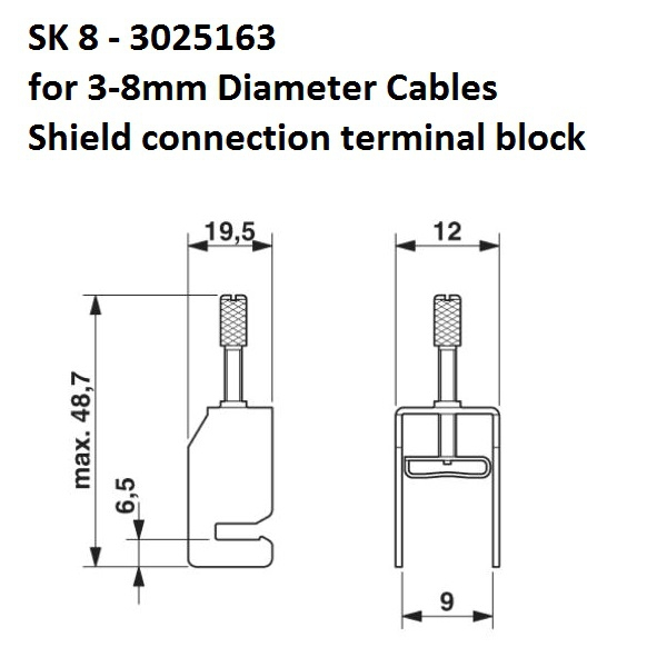 27033 sk8 38mm shield connection terminal block 3025163 dimensions