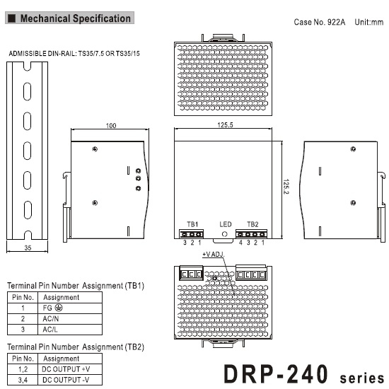 29442 meanwell drp24048 48vdc dimensions