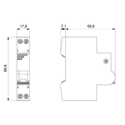 2amp 1pn circuit breaker siemens 5sl60027