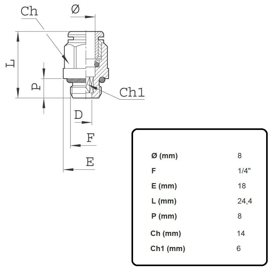 2l01010 push in coupler 8mm x 14inch
