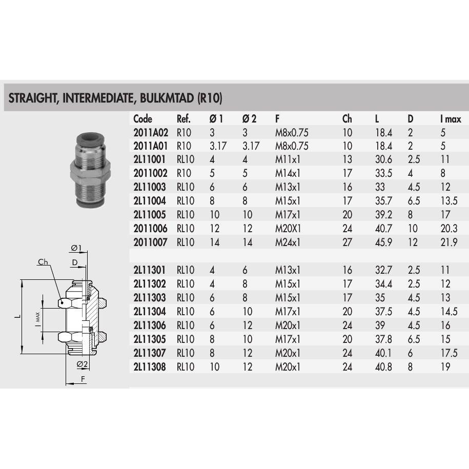 2l11303 rl10 8 6 straight intermediate bulkhead connector 8mm to 6mm hose