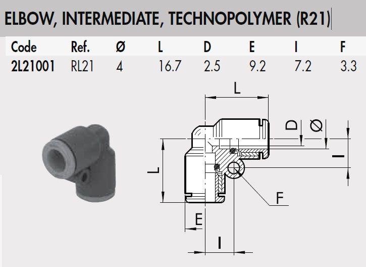 2l21001 rl21 4 mm elbow intermediate connector plastic rl21