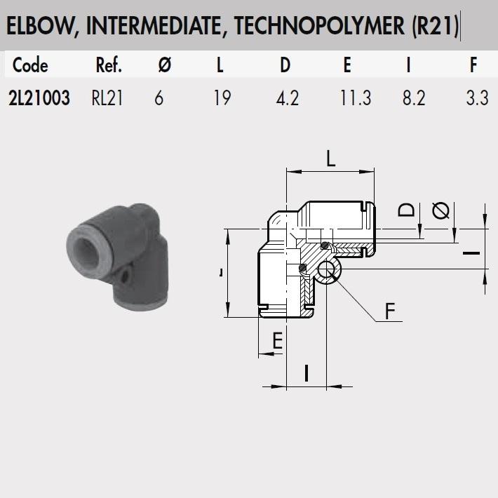 2l21003 rl21 6 mm elbow intermediate connector plastic rl21