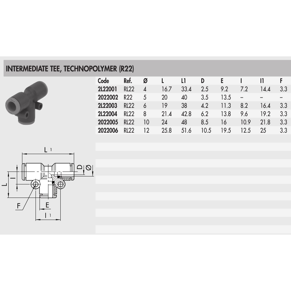 2l22004 8mm push in t coupler