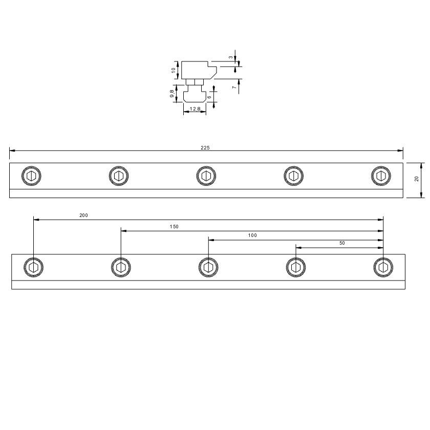 30772 isel stop rails set of 2 b20 x h10 x l225mm tnuts 2d dimensions