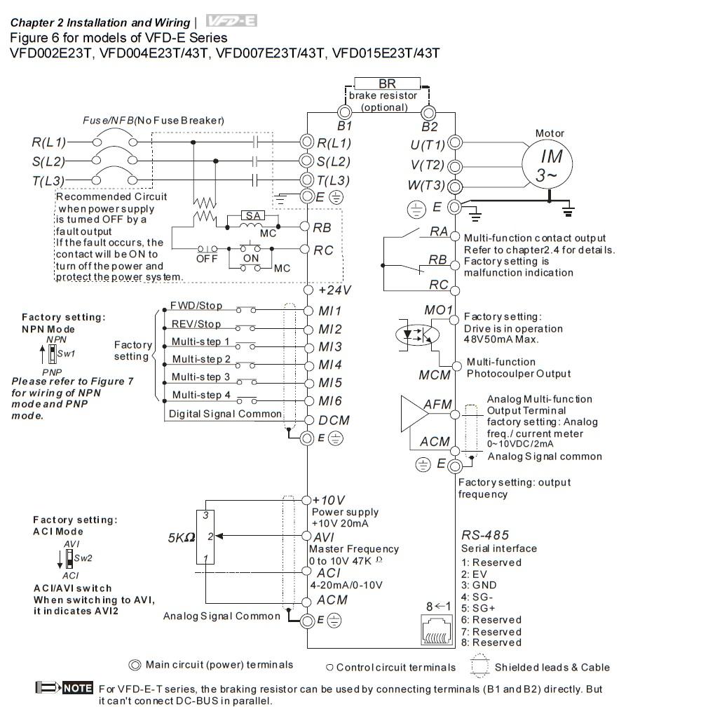 35883 vfd150e43a 400v400v 15kw keypad basic wiring 400vac three phase