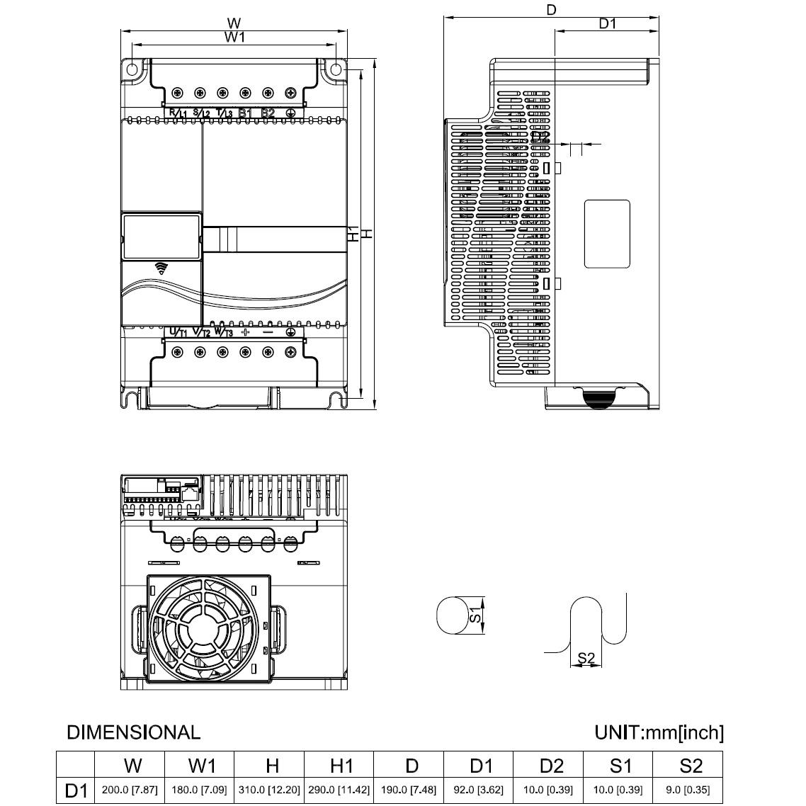 35894 vfd185e43a 400v400v 185kw keypad dimensions