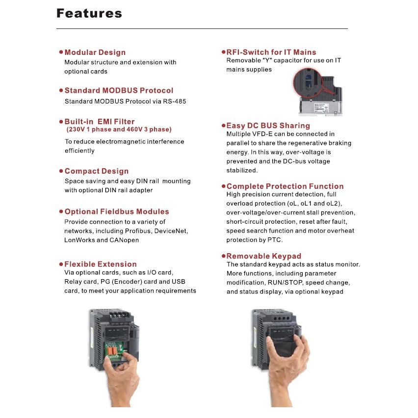 35905 vfd220e43a 400v400v 22kw keypad features