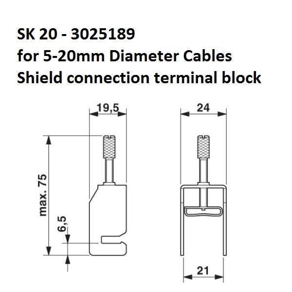37013 sk20 520mm shield connection terminal block 3025189 dimensions
