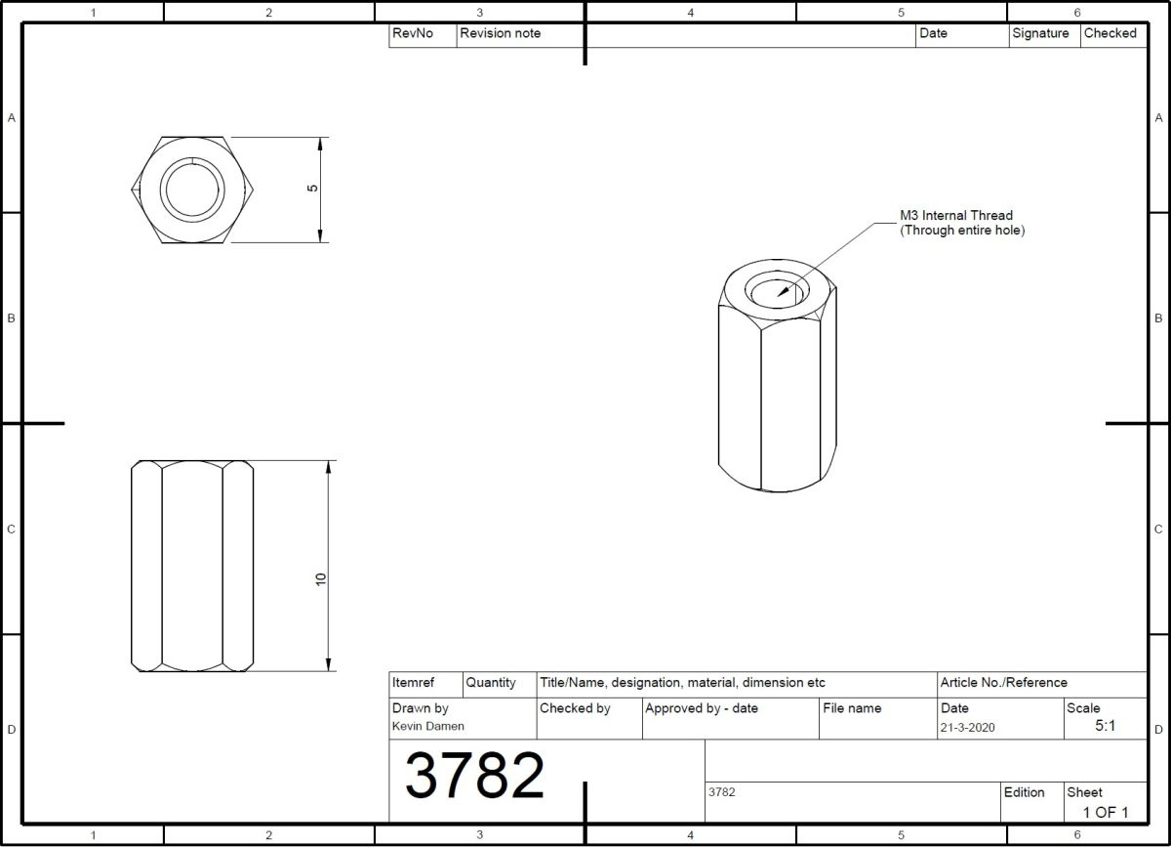 37822 hex long nut m3 l10mm 2d dimensions