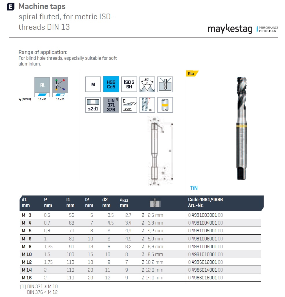 37882 machine taps spiral fluted m5x08 4981005001 product family