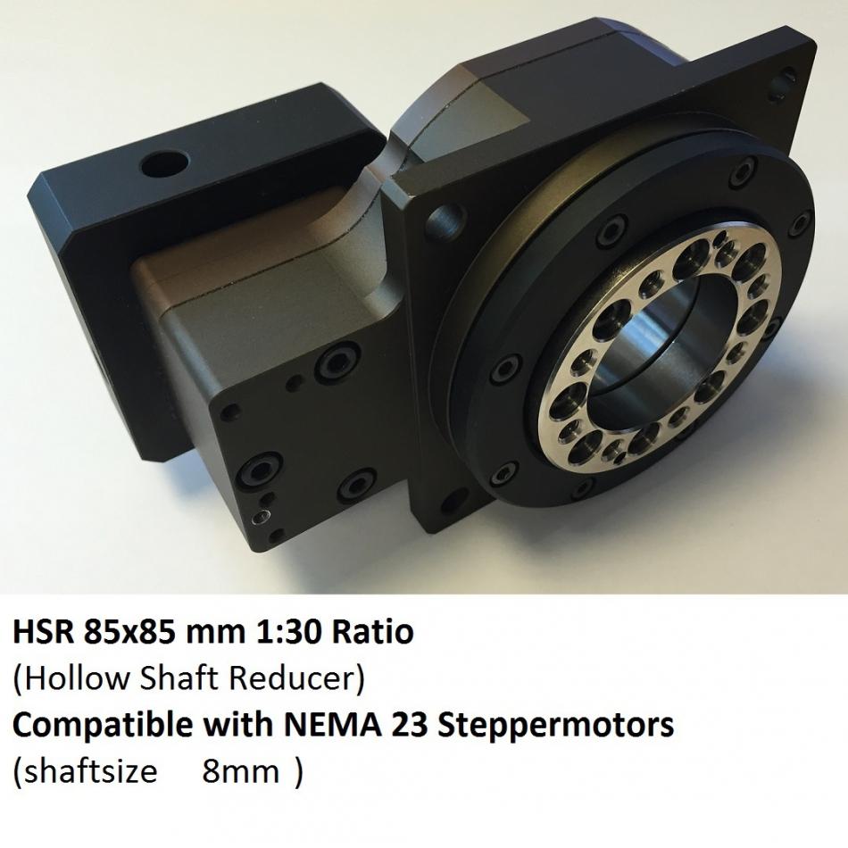 Dcnc hsr f85 n23b8 i30 hollow shaft reducer 1 30 nema23 for Hollow shaft gear motor