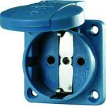 Panel mounted socket IP54 (Blue)