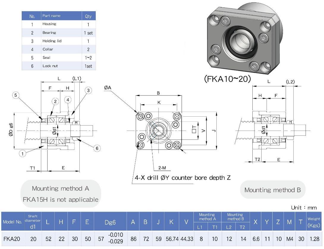 39092 fk20a fixed ballscrew support units c3 quality dimensions
